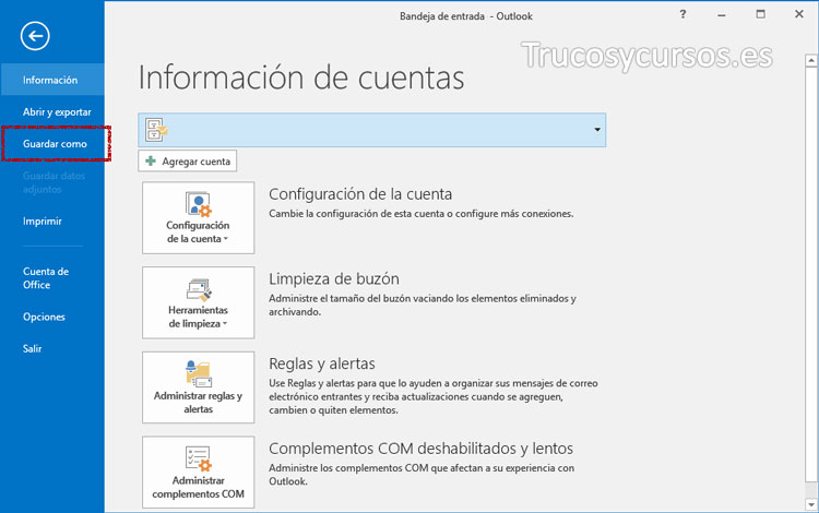 Ventana guardar como de Outlook