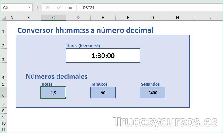 Hoja con conversor hh:mm:ss a números decimales en Excel