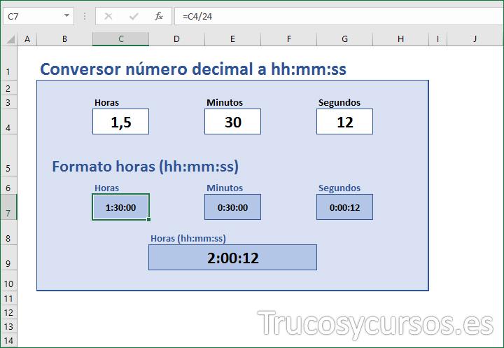 Hoja con conversor números decimales a hh:mm:ss en Excel