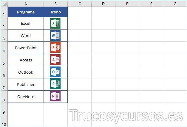 Hoja Excel con diferentes imágenes en celdas