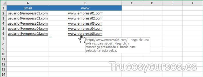 Hoja Excel con hipervínculo y hipervínculo visitado de color negro