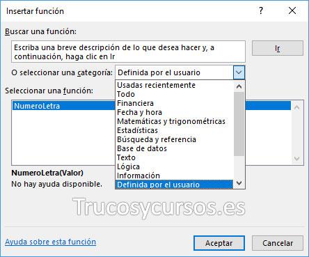 Ventana insertar función con categoría definida por el usuario
