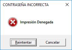 Mensaje de contraseña incorrecta Excel