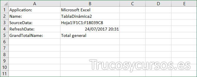 Nueva hoja con las propiedades de la tabla dinámica