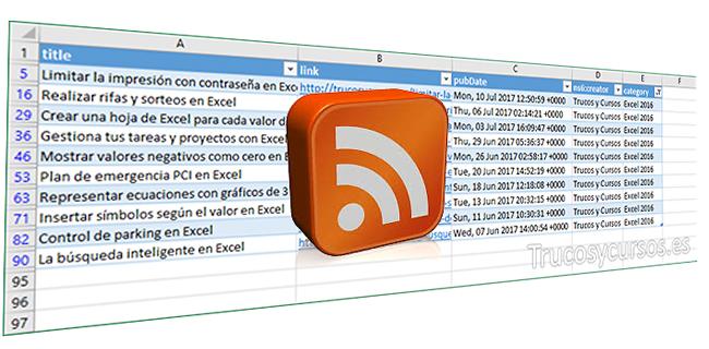 Importa los datos RSS en Excel