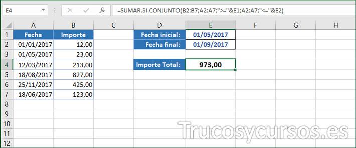 Hola Excel mostrando en E4 la suma de valores de las fechas