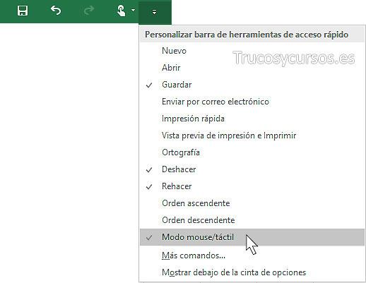 Entorno Excel mouse o táctil, añadir botón