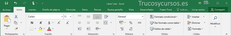 Cinta de opciones Excel, entorno táctil