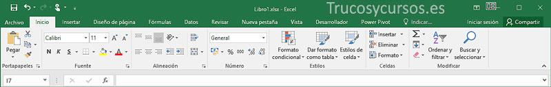 Cinta de opciones Excel, entorno mouse