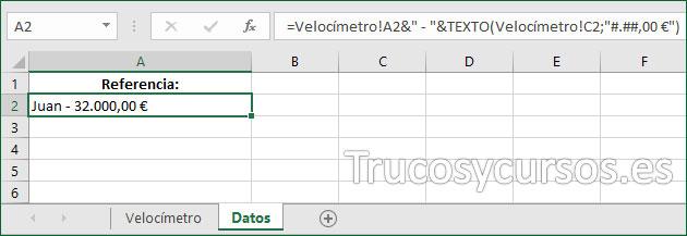 Hoja Excel con función en celda A2