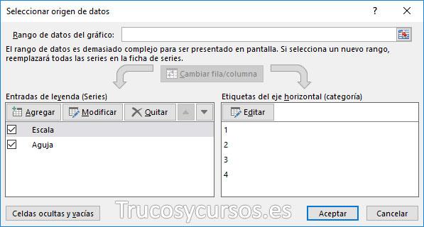 Ventana de origen de datos Excel