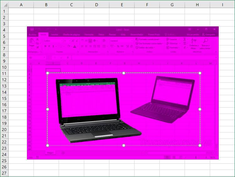 Imagen Excel con fondo magenta