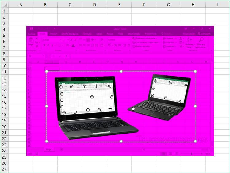 Imagen Excel con punto de referencia para mantener