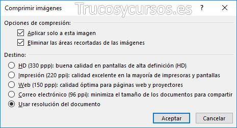 Ventana Excel de comprimir imágenes