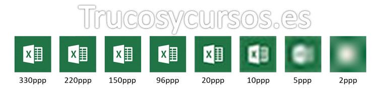 Imagen con diferentes resoluciones 330, 220, 150, 96,20, 10, 5 y 2 ppp