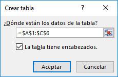 Ventana de crear tabla Excel