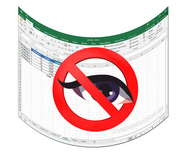 Ocultar las fórmulas de la hoja Excel