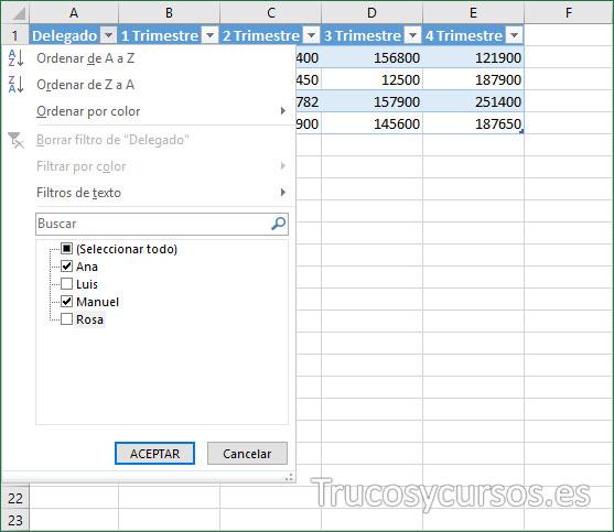 Tabla Excel con vista de filtro en A1