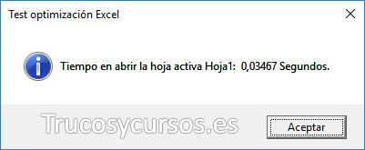 Mensaje de macro mostrando el texto Tiempo en abrir la hoja activa, HojaX: XX segundos.