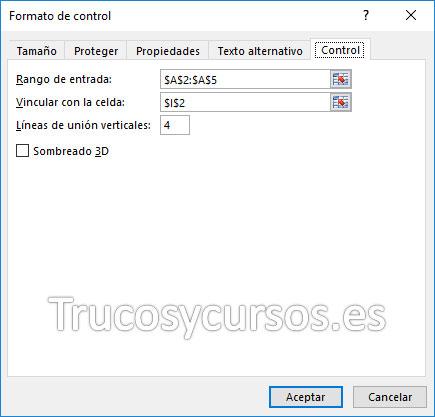 Cuadro de diálogo de formato del objeto; Pestaña Control