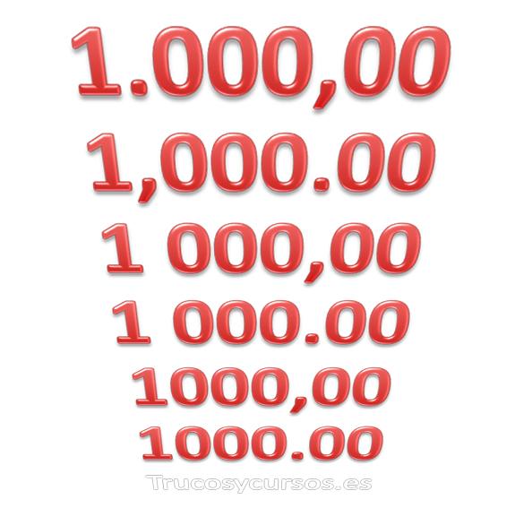 Cambiar el separador de mil y decimal en números Excel