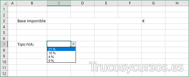 Hoja Excel con selección de tipo de IVA con validación