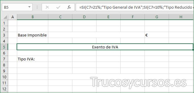 Hoja Excel con mensaje tipo general, reducido, superreducido y exento
