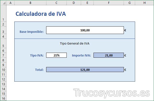 Hoja Excel con formato en la calculadora de iva