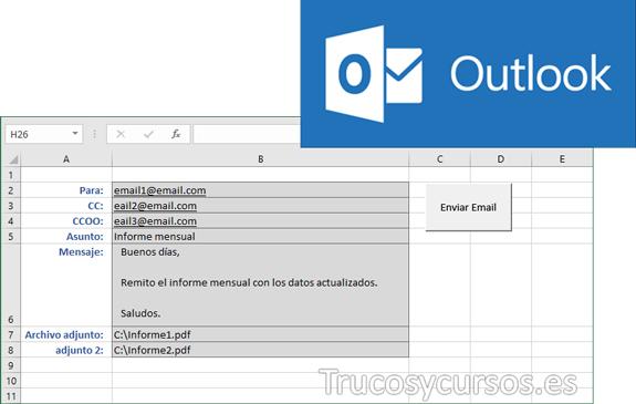 Enviar email con archivo adjunto desde hoja Excel