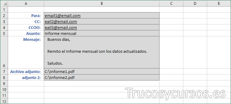 Hoja Excel con los valores para el email