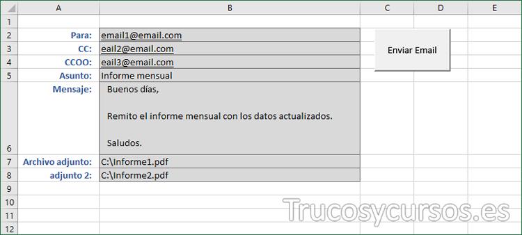 Hoja Excel con el botón para ejecutar macro