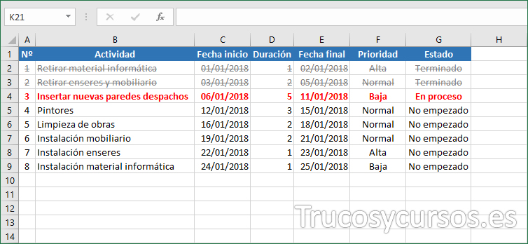 Hoja Excel con fila 1 tachada y fila 2 en color rojo en proceso