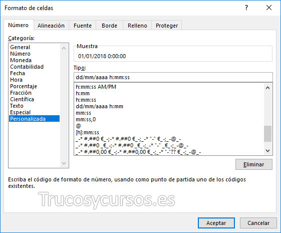Ventana formato de celdas con tipo personalizado dd/mm/aaaa h:mm:ss en C2