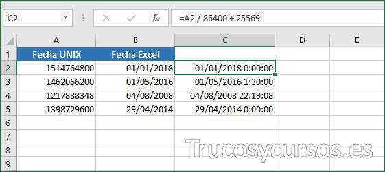 Hoja Excel con valor 01/01/2018 00:00:00 en C2
