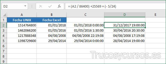 Hoja Excel con valor 31/12/2017 19:00:00 en D2