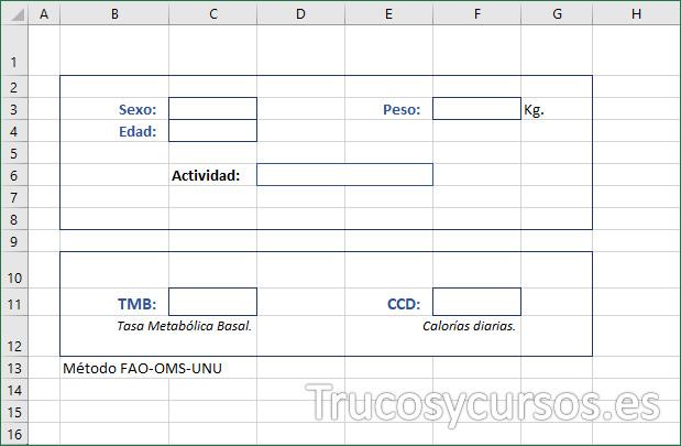 Hoja Excel con encabezados de la plantilla