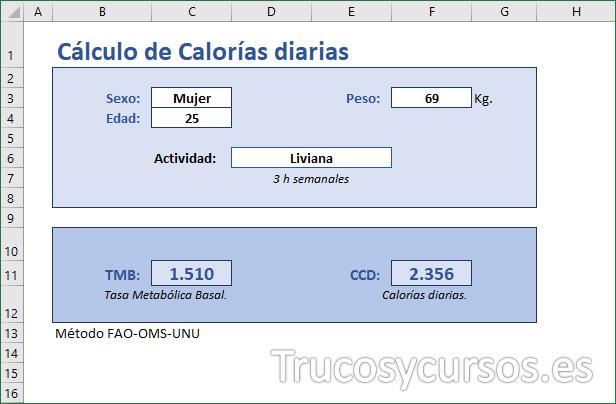 Plantilla finalizada para el Cálculo de Calorías diarias en Excel