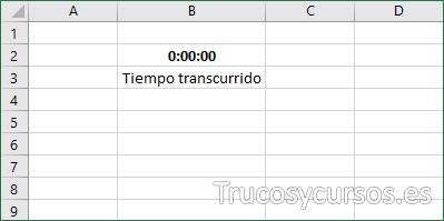Hoja Excel con celda B2 iniciando el tiempo.