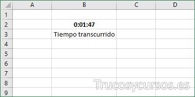 Hoja Excel con celda B2 mostrando el tiempo final.
