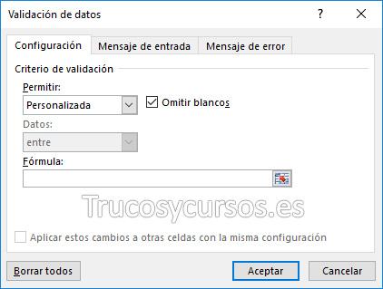 Ventana de validación de datos Excel