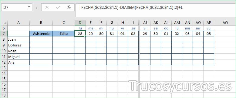 Hoja Excel mostrando el día en número y en texto corto.