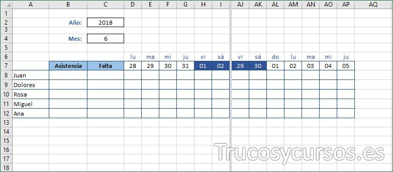 Hoja Excel mostrando formato en los días del mes actual