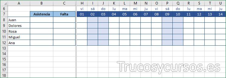 Hoja Excel mostrando los días festivos