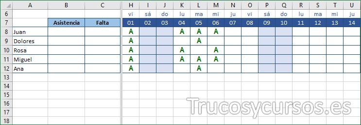 Hoja Excel mostrando la asistencia de los alumnos