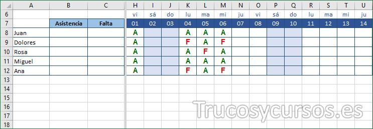 Hoja Excel mostrando las faltas de los alumnos.