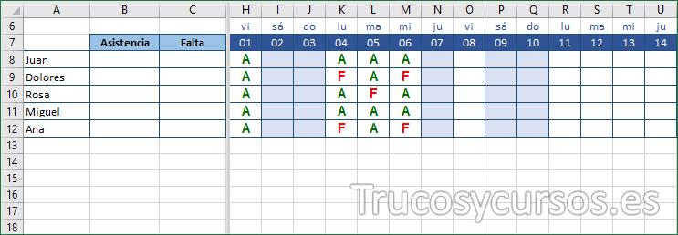 Hoja Excel con identificación A y F para la asistencia