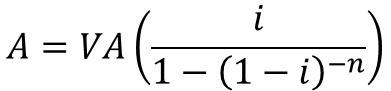 Fórmula =(/(1−(1−)^(−)))