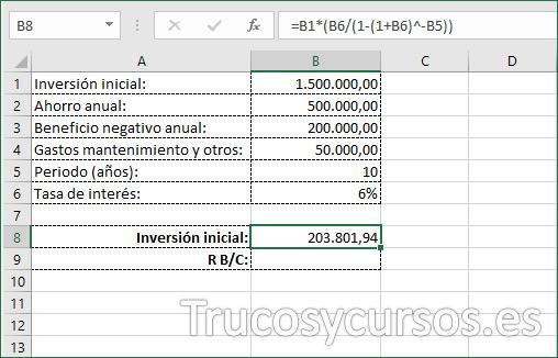 Hoja Excel con valor de inversión inicial con anualidad vencida