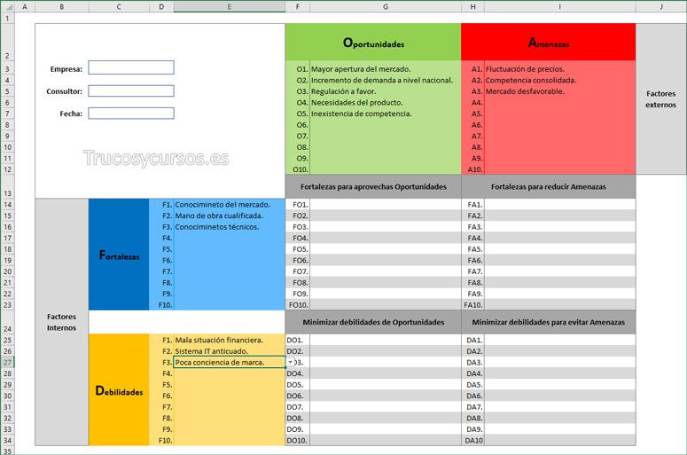 Hola con la plantilla Análisis DAFO (FODA, DOFA) las decisiones con Excel