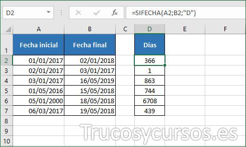 Hoja Excel mostrando 366 días entre el 01/01/2017 al 02/01/2018
